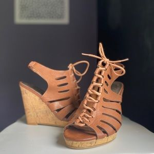 Madden Girl Brown Strappy Wedges size 7.5